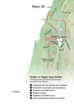 Mapa sang mga lokasyon may kaangtanan sa ministeryo ni Jesus sa palibot sang Dagat sang Galilea, Fenicia, kag Decapolis