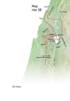Map gosiri ebe ndị Jizọs gara ozi ọma gburugburu Galili, Finishia, na Dikapọlis