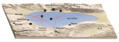 Peta lokasi yang berhubungan dengan pelayanan Yesus di sekitar Laut Galilea