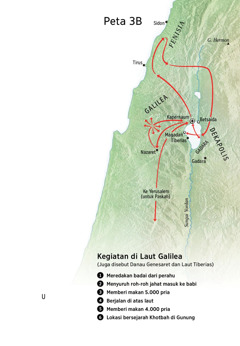 Peta lokasi yang berhubungan dengan pelayanan Yesus di sekitar Galilea, Fenisia, dan Dekapolis