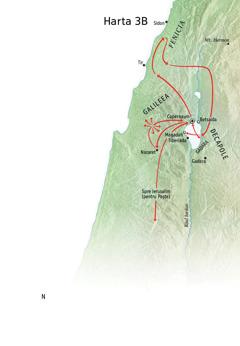 Hartă cu locurile în care a fost Isus când a predicat în Galileea, Fenicia și Decapole