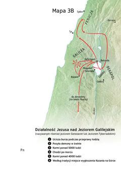 Mapa— miejsca związane ze służbą Jezusa wGalilei, Fenicji iDekapolu