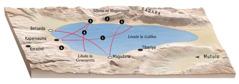Mapa yebonisa libaka zanaafitile ku zona Jesu mwa bukombwa bwahae bukaufi ni Liwate la Galilea