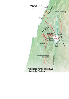 Mapa yebonisa libaka zanaafitile ku zona Jesu mwa bukombwa bwahae bukaufi ni Liwate la Galilea, Fenisia ni Dekapolisi