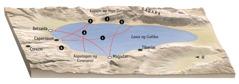 Mapa ng mga lugar na may kaugnayan sa ministeryo ni Jesus sa palibot ng Lawa ng Galilea