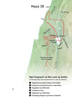 Mapa ng mga lugar na may kaugnayan sa ministeryo ni Jesus sa palibot ng Galilea, Fenicia, at Decapolis