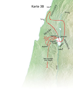 Karte zu Jesu Dienst in Galiläa, Phönizien und der Dekapolis