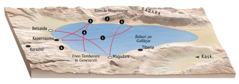Karte ya maeneo yenye kuhusiana na utumishi wa Yesu karibu na Bahari ya Galilaya