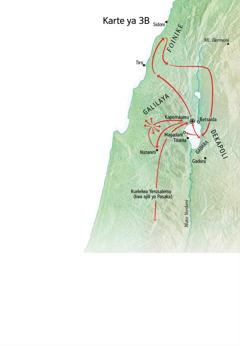 Karte ya maeneo yenye kuhusiana na utumishi wa Yesu karibu na Galilaya, Foinike, na Decapoli