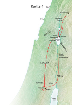 Kartassa Jeesuksen palvelukseen liittyviä paikkoja Juudeassa ja Galileassa