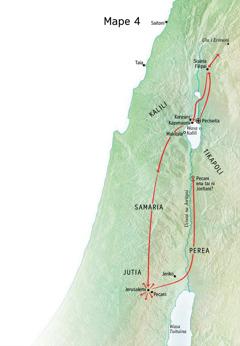Mape ni cakacaka vakaitalatala nei Jisu e Jutia, wili kina o Jerusalemi, Pecani, Peciseita, Sisaria Filipai