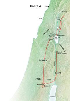 Kaart van Jezus' bediening in Judea en Galilea