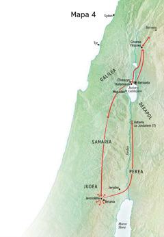 Mapa— służba Jezusa wJudei iGalilei