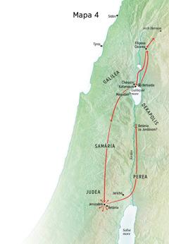 Mapa zobdobia Ježišovej služby vJudei aGalilei