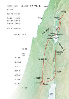 Karta över Jesus tjänst i Judeen och Galileen