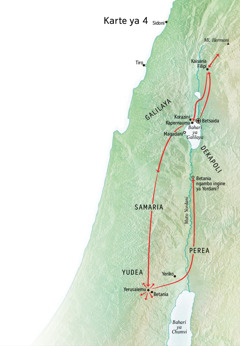 Karte ya utumishi wa Yesu katika Yudea na Galilaya