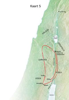 Kaart met plekke wat met Jesus se bediening verband hou, insluitende Betanië, Jerigo en Perea