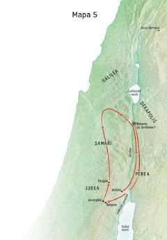 Mapa míst spojených s Ježíšovou službou, včetně Betanie, Jericha a Pereje