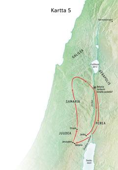 Kartassa Jeesuksen palvelukseen liittyviä paikkoja: Betania, Jeriko, Perea