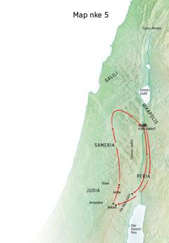 Map gosiri ebe ndị Jizọs gara ozi ọma, dị ka na Betani, Jeriko, na Peria