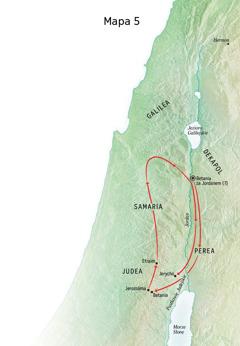 Mapa— miejsca związane ze służbą Jezusa, między innymi Betania, Jerycho iPerea
