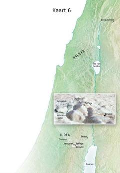 Kaart met plekke wat met die einde van Jesus se bediening verband hou, insluitende Jerusalem, Betanië, Betfage en die Olyfberg
