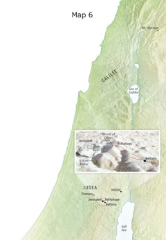 Map of locations related to Jesus' final ministry including Jerusalem, Bethany, Bethphage, and the Mount of Olives