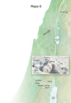 Mapa míst spojených se závěrem Ježíšovy služby, včetně Jeruzaléma, Betanie, Betfage a Olivové hory