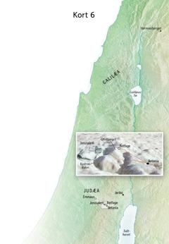 Kort over steder der havde relation til Jesus' afsluttende tjeneste, deriblandt Jerusalem, Betania, Betfage og Oliebjerget