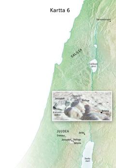 Kartassa Jeesuksen loppuajan palvelukseen liittyviä paikkoja: Jerusalem, Betania, Betfage, Öljymäki