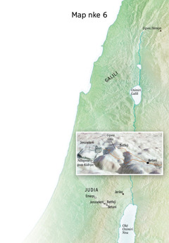 Map gosiri ebe ndị Jizọs gara ozi ọma ikpeazụ ya, dị ka na Jeruselem, Betani, Betfeji, na Ugwu Oliv