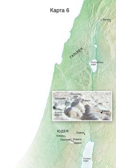 Карта місцевостей, пов'язаних із останнім періодом служіння Ісуса: Єрусалим, Віфанія, Вітфагія і Оливкова гора