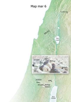 Map ma nyiso kuonde ma Yesu nowuothoe moriwo Bethania, Bethfage, kod Got Zeituni