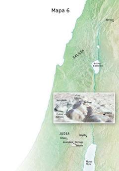 Mapa— miejsca związane zostatnim etapem służby Jezusa, między innymi Jerozolima, Betania, Betfage iGóra Oliwna