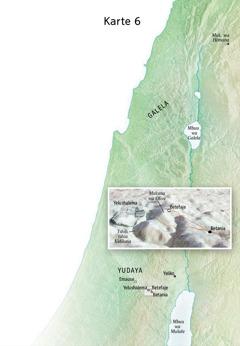Karte ka miaba idi ipetangana ne mudimu wa Yezu wa ndekelu kusangisha ne Yelushalema, Betania, Betefaje, ne Mukuna wa Olive