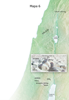 Mapa yebonisa libaka zanaafitile ku zona Jesu mwa bukombwa bwahae bwa mafelelezo zecwale ka Jerusalema, Betania, Batefage, ni Lilundu la Likota za Olive