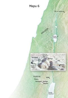 Mapu ghakulongora uko Yesu wakachitira uteŵeti wake kaumaliro ku Yerusalemu, Betaniya, Betifage, na Phiri la Maolive