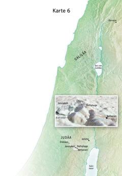 Karte zu Jesu abschließendem Dienst (unter anderem Jerusalem, Bethanien, Bethphage, Ölberg)