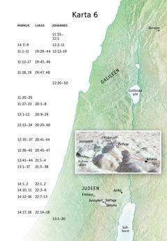 Karta över viktiga platser i Jesus tjänst, bland annat Jerusalem, Betania, Betfage och Olivberget