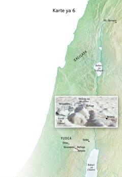 Karte ya mahali kwenye Yesu alifanya utumishi wake wa mwisho kutia ndani Yerusalemu, Betania, Betfage, na Mulima wa Mizeituni