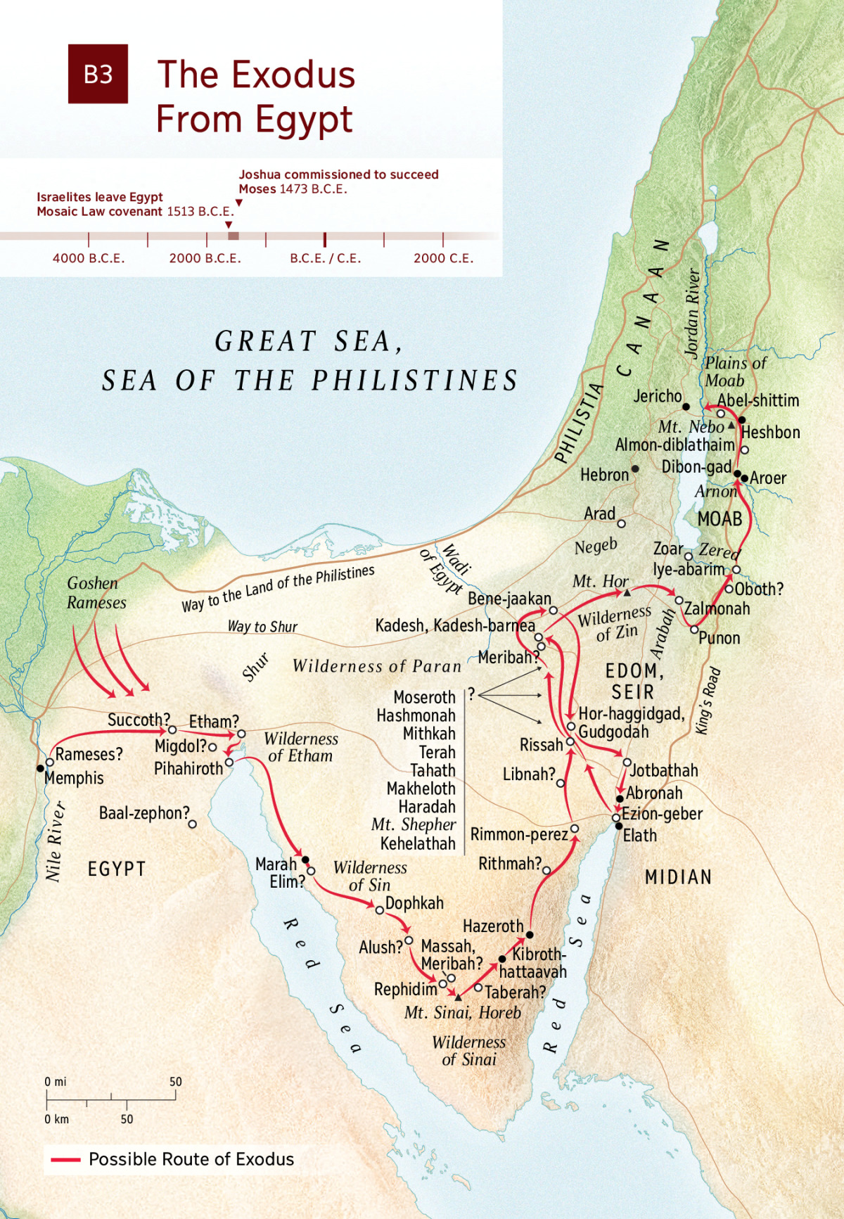 Map Exodus From Egypt  NWT