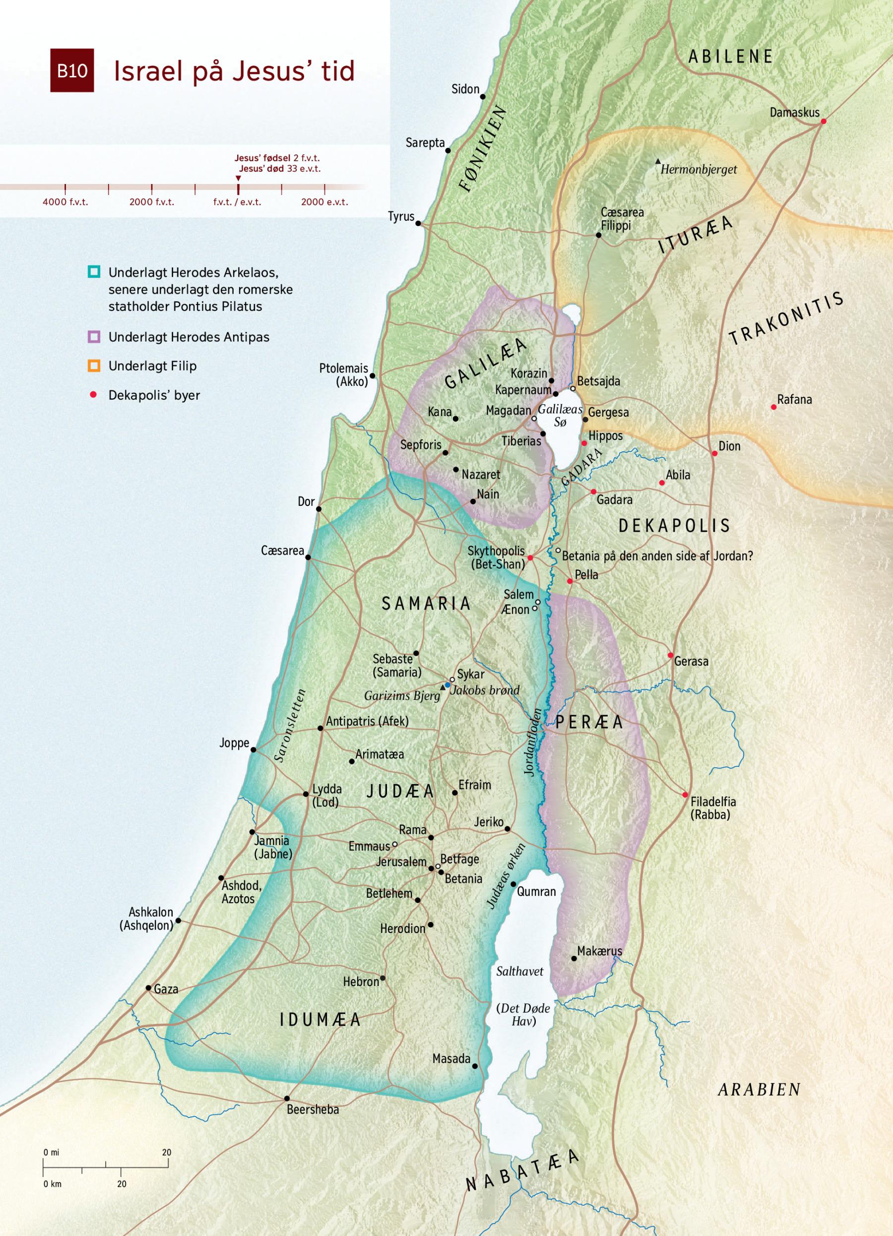 Kort Israel Pa Jesus Tid Nwt