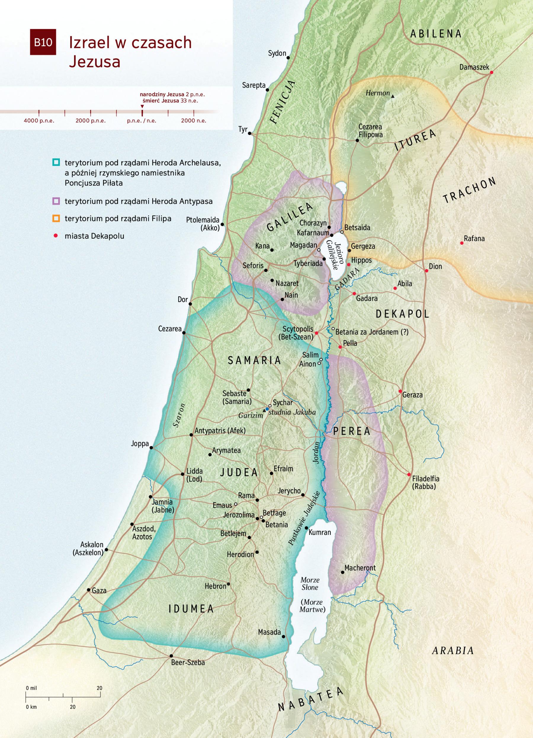 Mapa Izrael W Czasach Jezusa Nwt