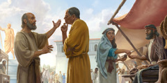 Paul preaches at the market in Corinth