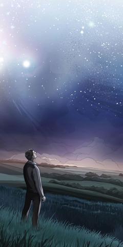 En man tittar upp mot himlen