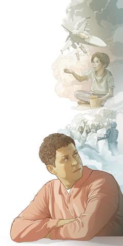 전 세계에서 전쟁, 식량 부족, 불법행위 등으로 인해 성경 예언이 어떻게 성취되고 있는지 생각하는 남자