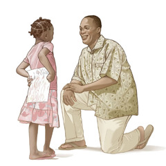 A daughter happily brings her father a picture she drew for him