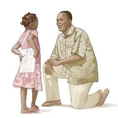Дочка з радістю принесла батькові малюнок, який намалювала для нього