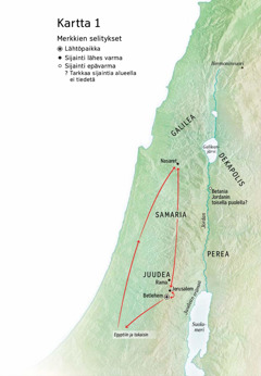 Kartassa Jeesuksen elämään liittyviä paikkoja: Betlehem, Nasaret, Jerusalem