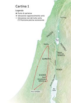 Cartina delle località legate alla vita di Gesù: Betlemme, Nazaret, Gerusalemme